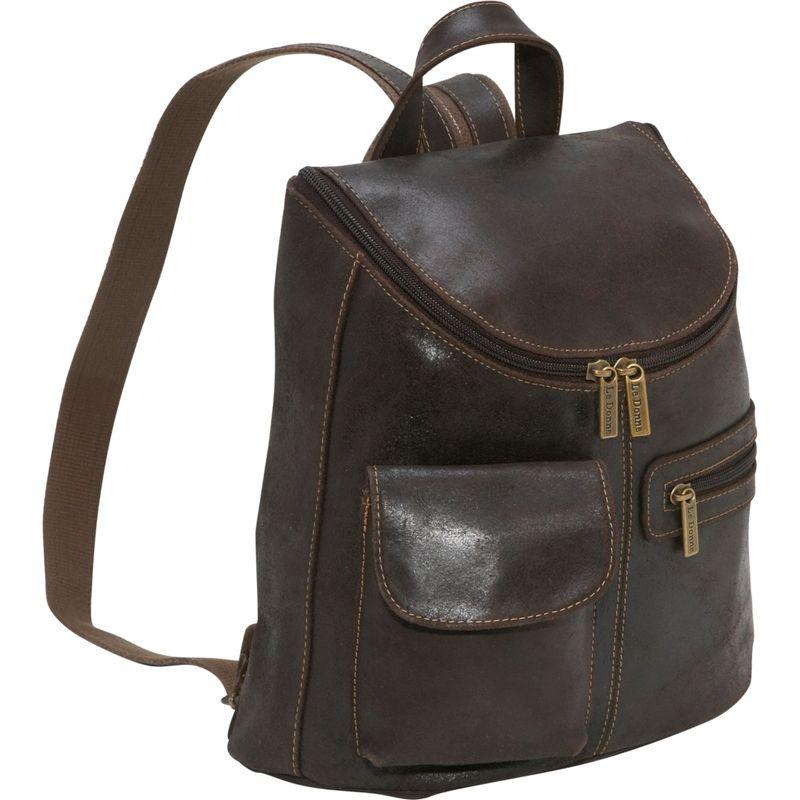 ルドネレザー メンズ ハンドバッグ バッグ Distressed Leather Womens Backpack/Purse Chocolate