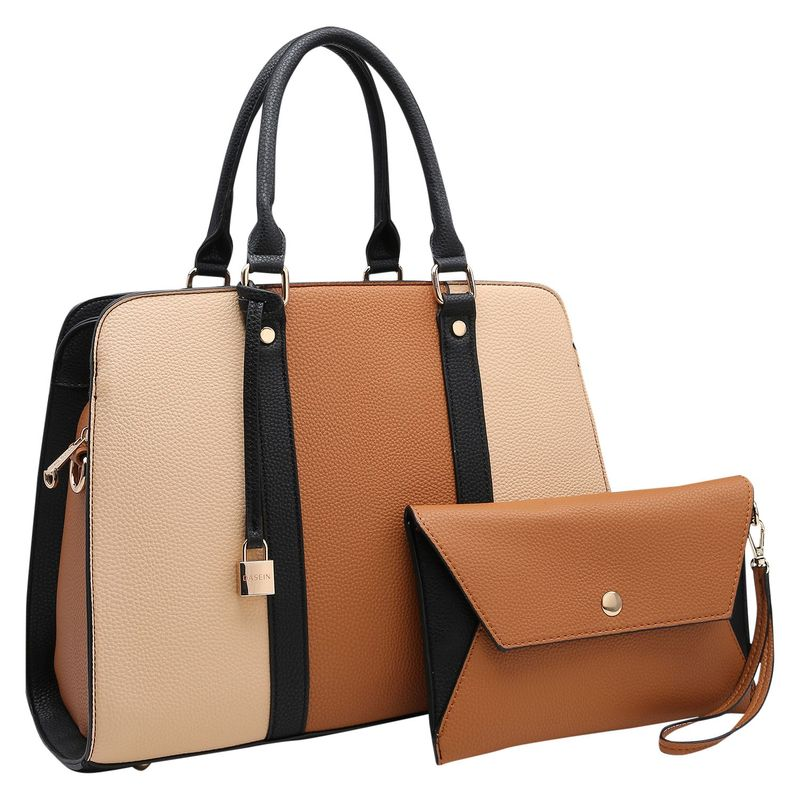 ダセイン メンズ ハンドバッグ バッグ Two Tone Medium Satchel with Matching Wristlet Brown/Beige