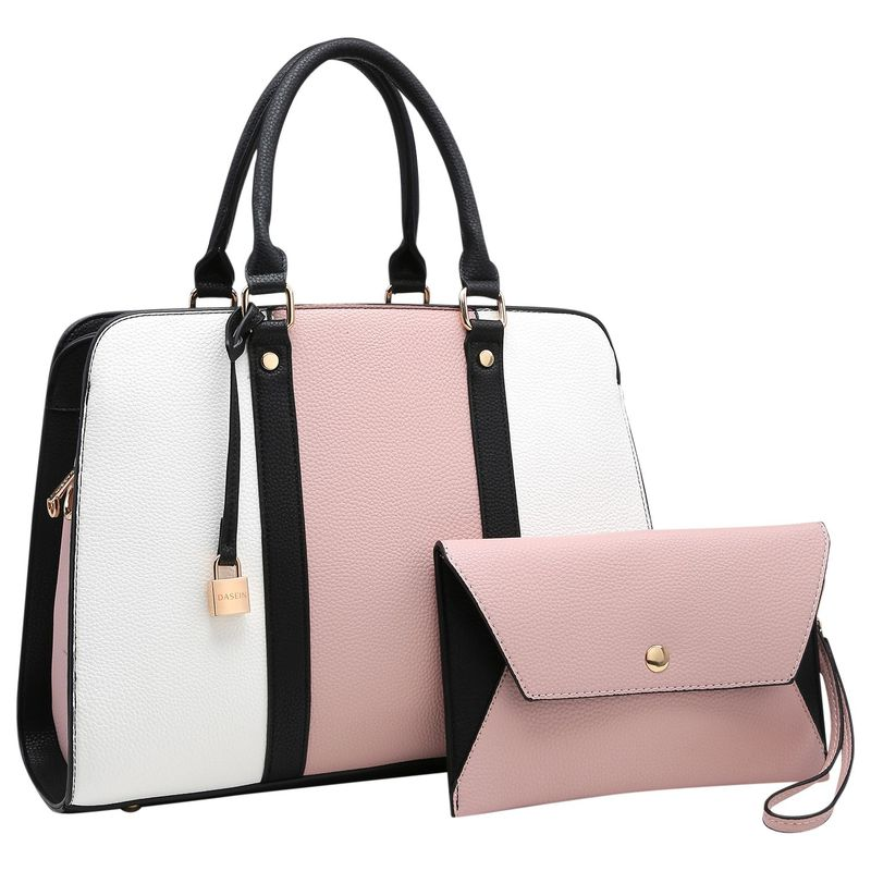 ダセイン メンズ ハンドバッグ バッグ Two Tone Medium Satchel with Matching Wristlet Pink/White