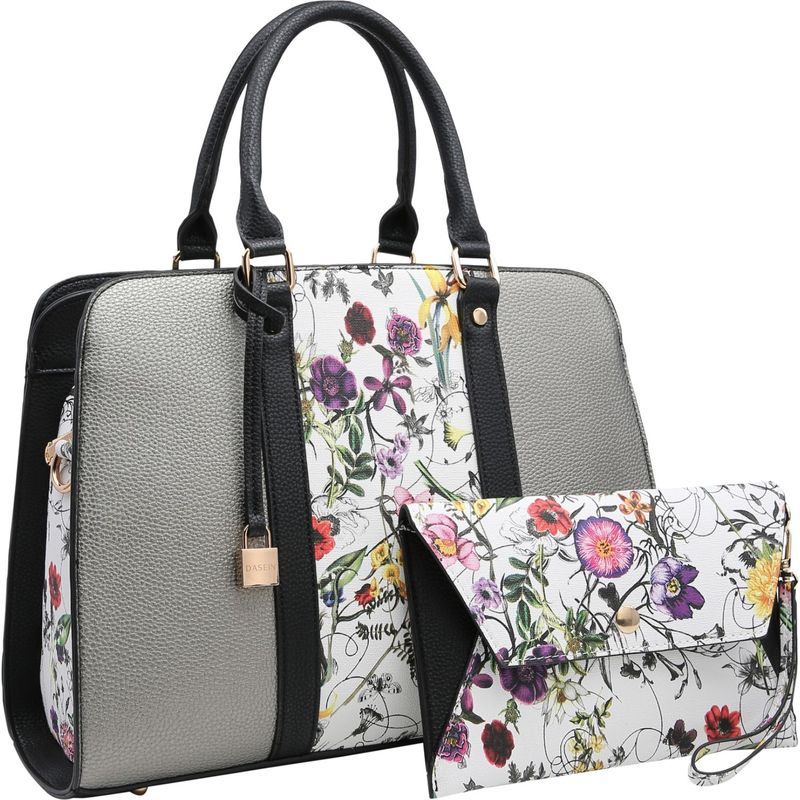 ダセイン メンズ ハンドバッグ バッグ Two Tone Medium Satchel with Matching Wristlet Silver White/ Flower