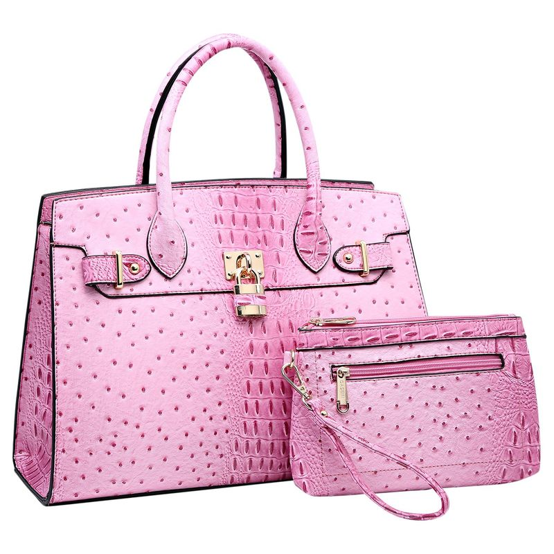 ダセイン メンズ ハンドバッグ バッグ Satchel with Padlock Deco and Matching Wristlet Pink