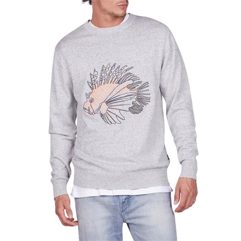 バーニークールス メンズ ニット・セーター アウター Lion Fish Knit Sweater Grey Melange