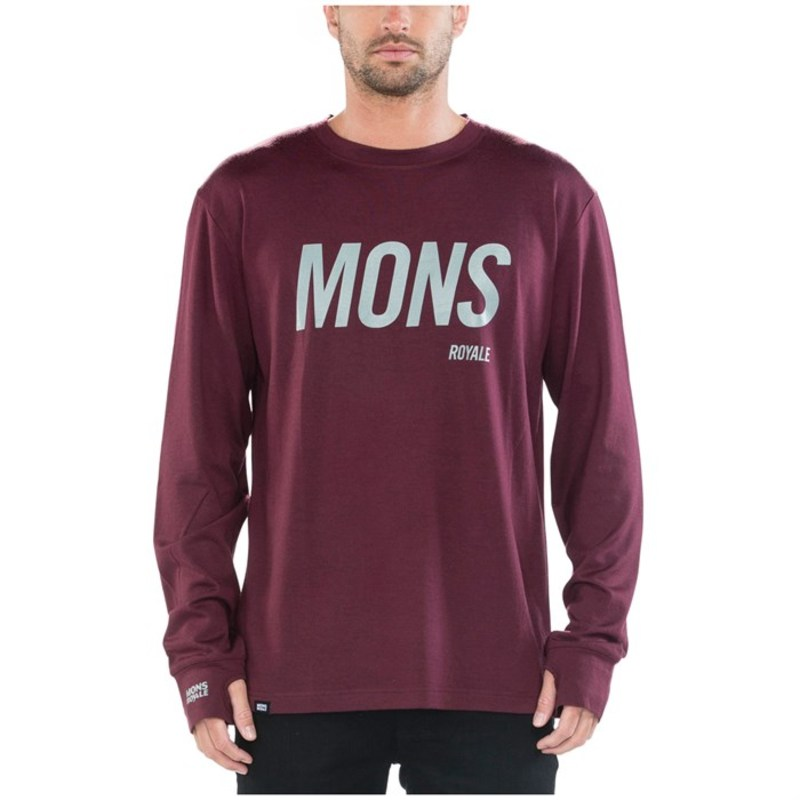モンスロイヤル メンズ Tシャツ トップス MONS ROYALE Original Long Sleeve Top Burgundy