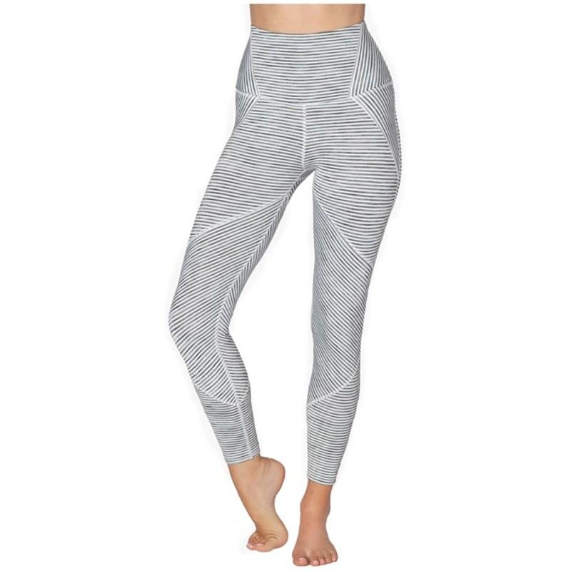 ビヨンドヨガ レディース レギンス ボトムス Beyond Yoga True To Stripe High Waisted Midi Leggings - Women's White Heather Surf Stripe