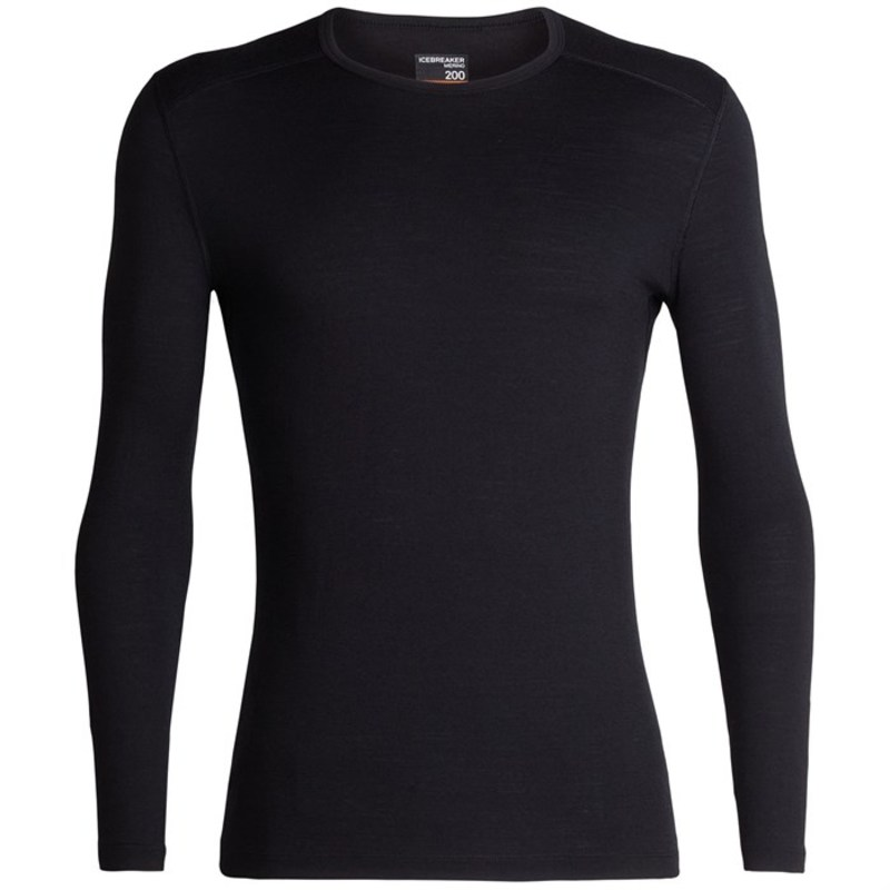 アイスブレーカー メンズ Tシャツ トップス Icebreaker 200 Oasis Long Sleeve Crew Black