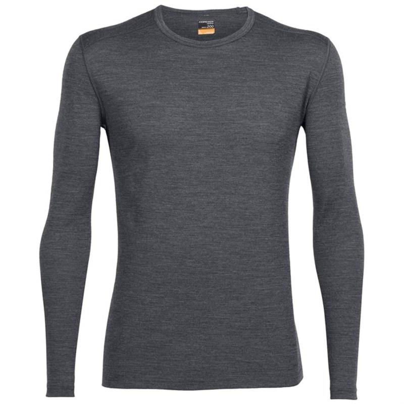 アイスブレーカー メンズ Tシャツ トップス Icebreaker 200 Oasis Long Sleeve Crew Gritstone Heather
