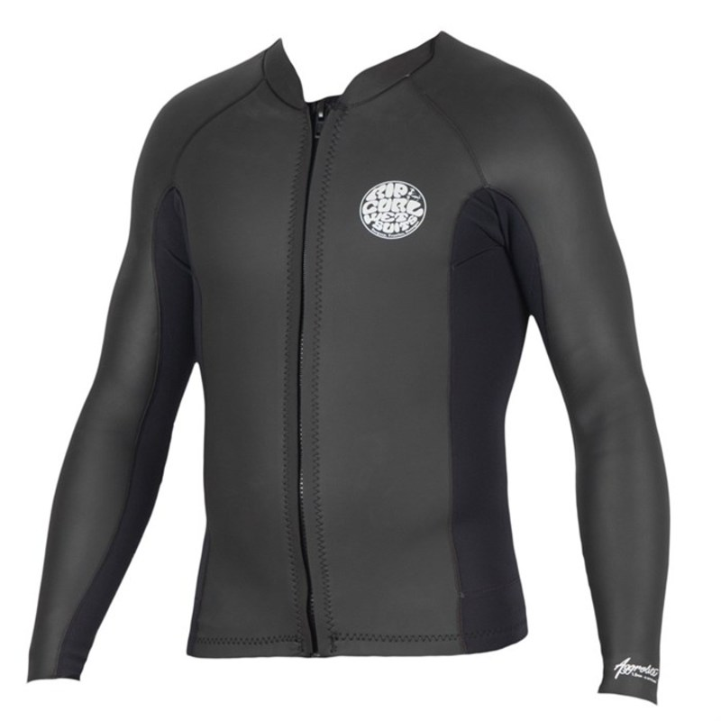 リップカール メンズ 上下セット 水着 Rip Curl 1.5mm Aggrolite Long Sleeve Front Zip Wetsuit Jacket Black