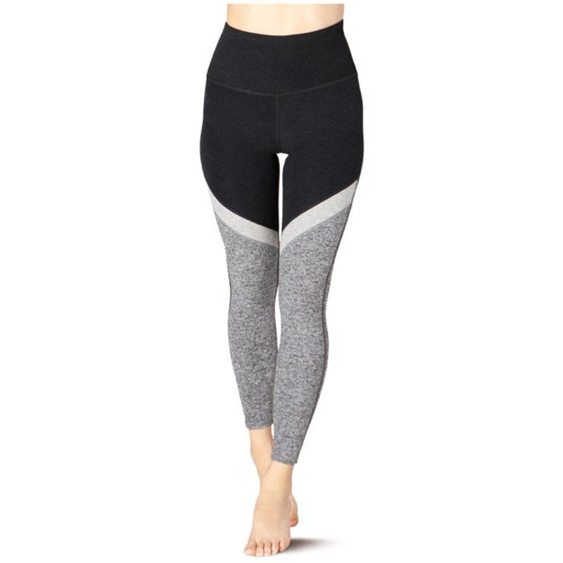 ビヨンドヨガ レディース カジュアルパンツ ボトムス Beyond Yoga Spacedye Tri-Panel High Waisted Midi Leggings - Women's Black-White Tri-Panel