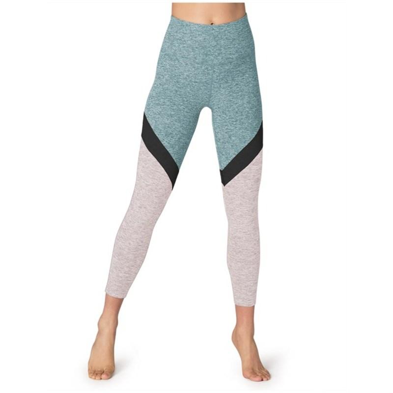 ビヨンドヨガ レディース カジュアルパンツ ボトムス Beyond Yoga Spacedye Tri-Panel High Waisted Midi Leggings - Women's True Teal-White Tri-Panel