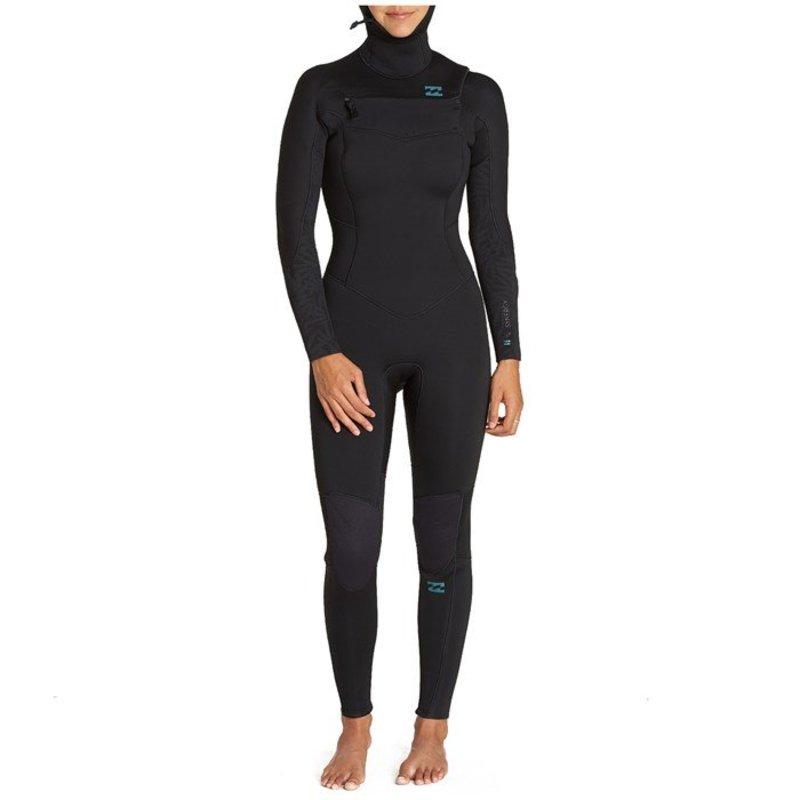 ビラボン レディース 上下セット 水着 Billabong 5/4 Synergy Chest Zip Hooded Wetsuit - Women's Black