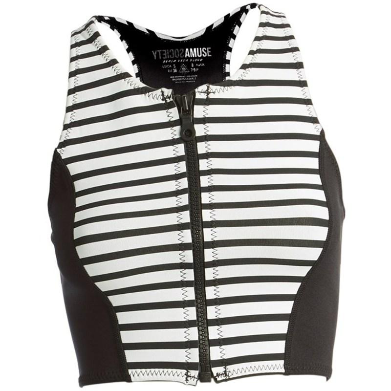 アミューズソサエティ レディース 上下セット 水着 Amuse Society Laka Striped Cropped Neoprene Vest - Women's Black