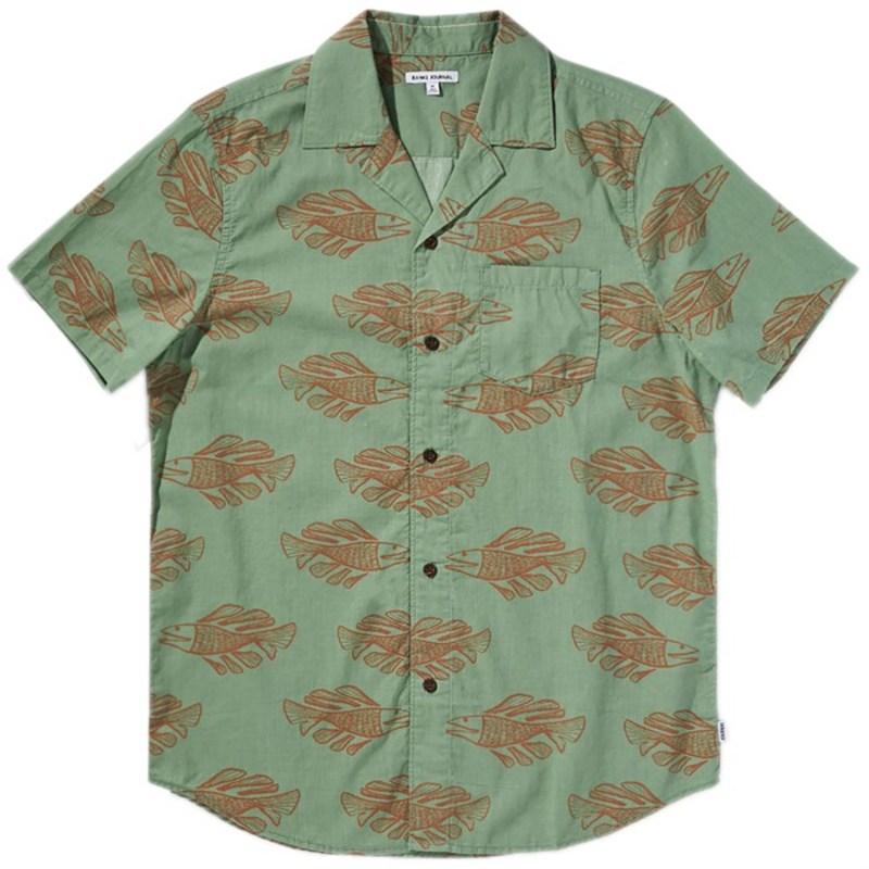 バンクス メンズ シャツ トップス Banks Scales Short-Sleeve Shirt Basil