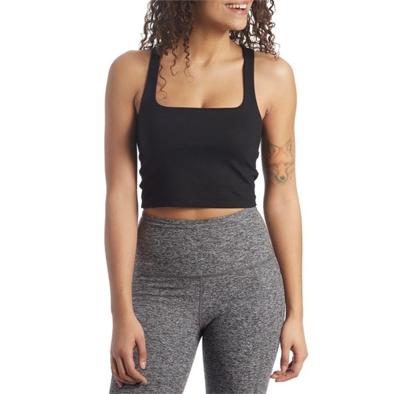 ビヨンドヨガ レディース タンクトップ トップス Beyond Yoga Heather Rib Square Neck Cropped Tank - Women's Black