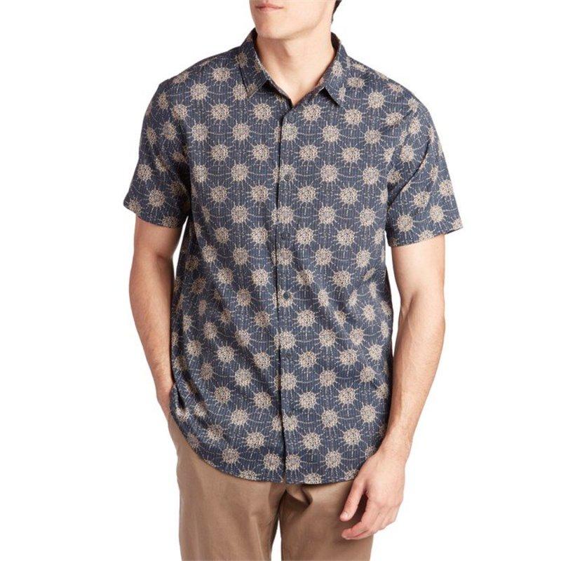 ローアク メンズ シャツ トップス Roark Bless Up Short-Sleeve Shirt Navy