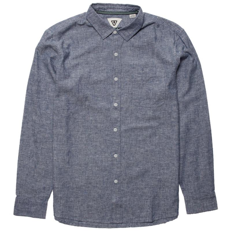 ヴィスラ メンズ シャツ トップス Vissla Coastlands Chambray Long-Sleeve Shirt Dark Denim