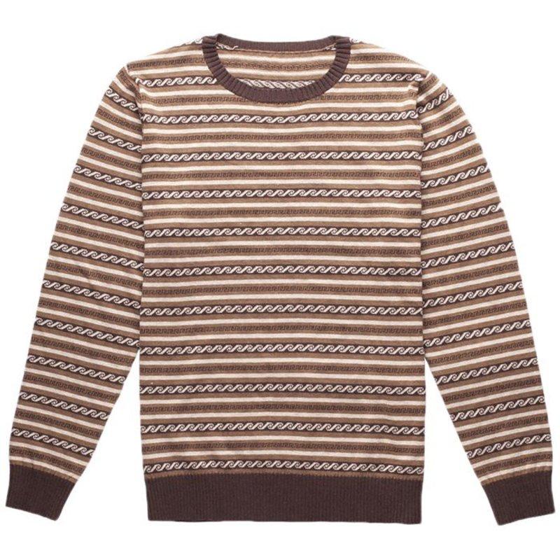 リズム メンズ ニット・セーター アウター Rhythm Vintage Stripe Knit Sweater Brown