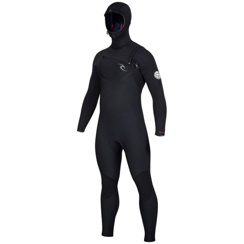 リップカール メンズ 上下セット 水着 5/4 Dawn Patrol Hooded Chest Zip Wetsuit Black