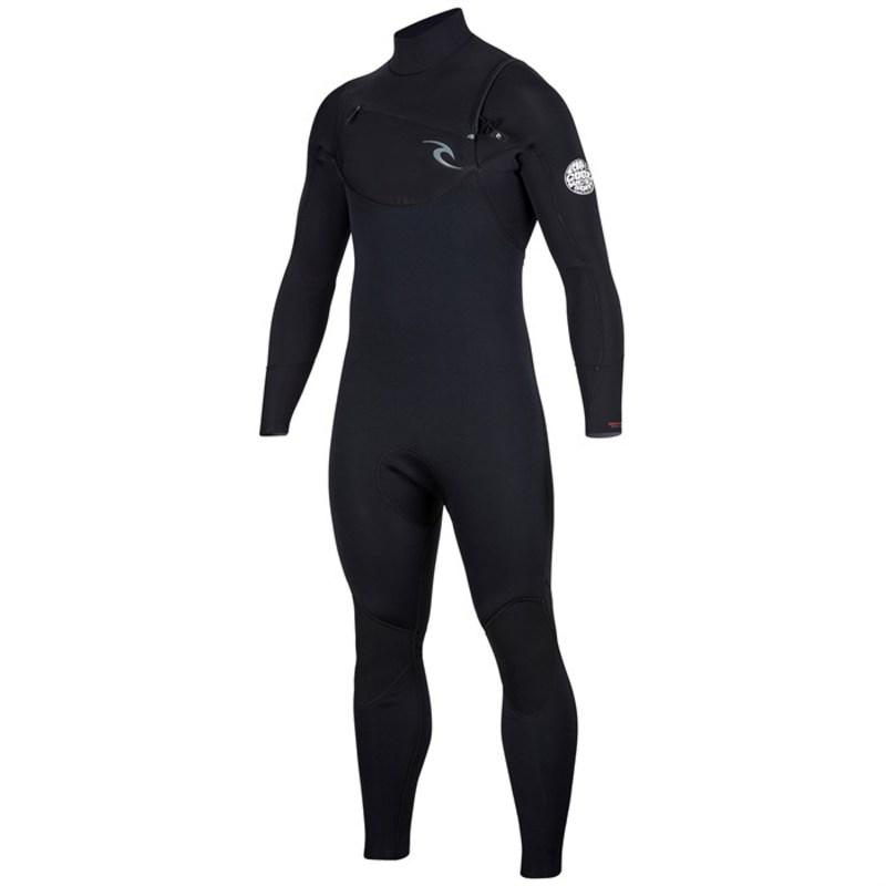 リップカール メンズ 上下セット 水着 Dawn Patrol 4/3 Chest Zip Wetsuit Black