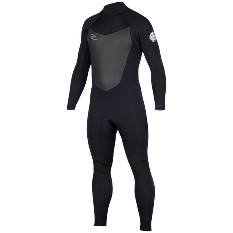 リップカール メンズ 上下セット 水着 Dawn Patrol 4/3 Back Zip Wetsuit Black