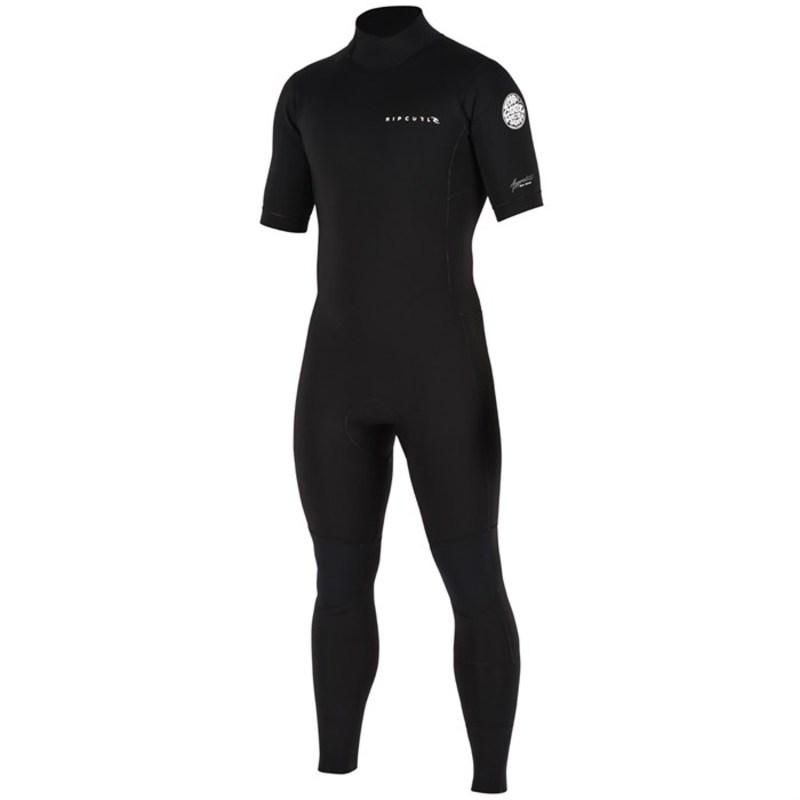 リップカール メンズ 上下セット 水着 2mm Aggrolite Short Sleeve Back Zip Wetsuit Black