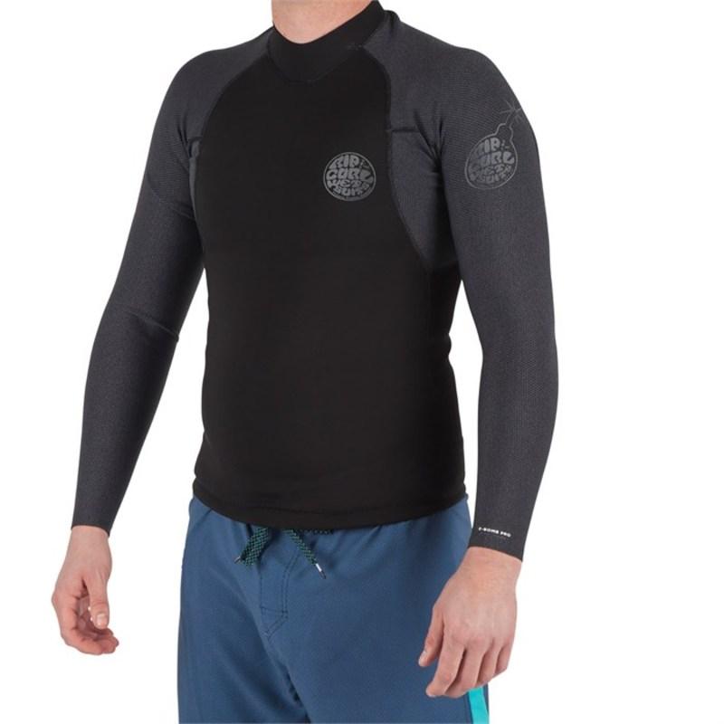 リップカール メンズ 上下セット 水着 1.5mm E-Bomb Long Sleeve Wetsuit Jacket Black