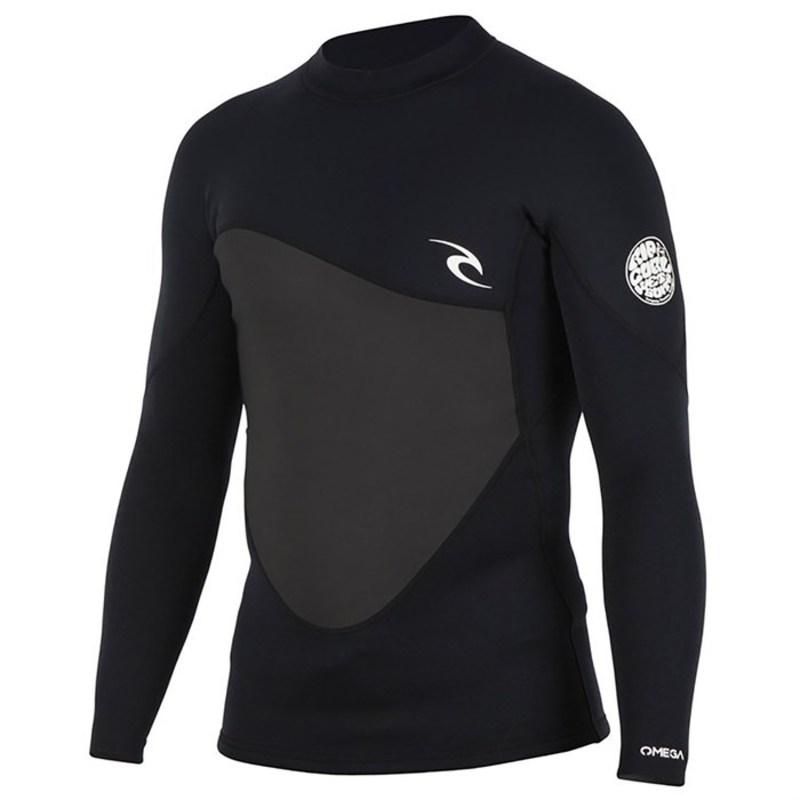 リップカール メンズ 上下セット 水着 1.5mm Omega Long Sleeve Wetsuit Jacket Black