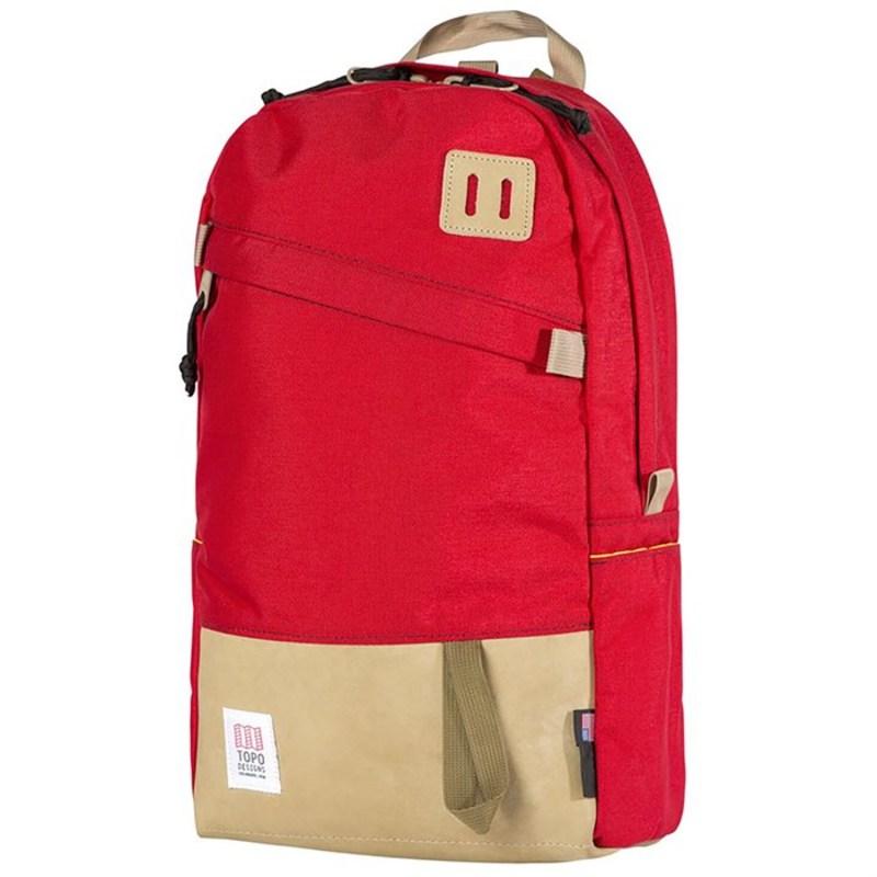 トポ・デザイン メンズ バックパック・リュックサック バッグ Daypack Backpack Red/Khaki Leather
