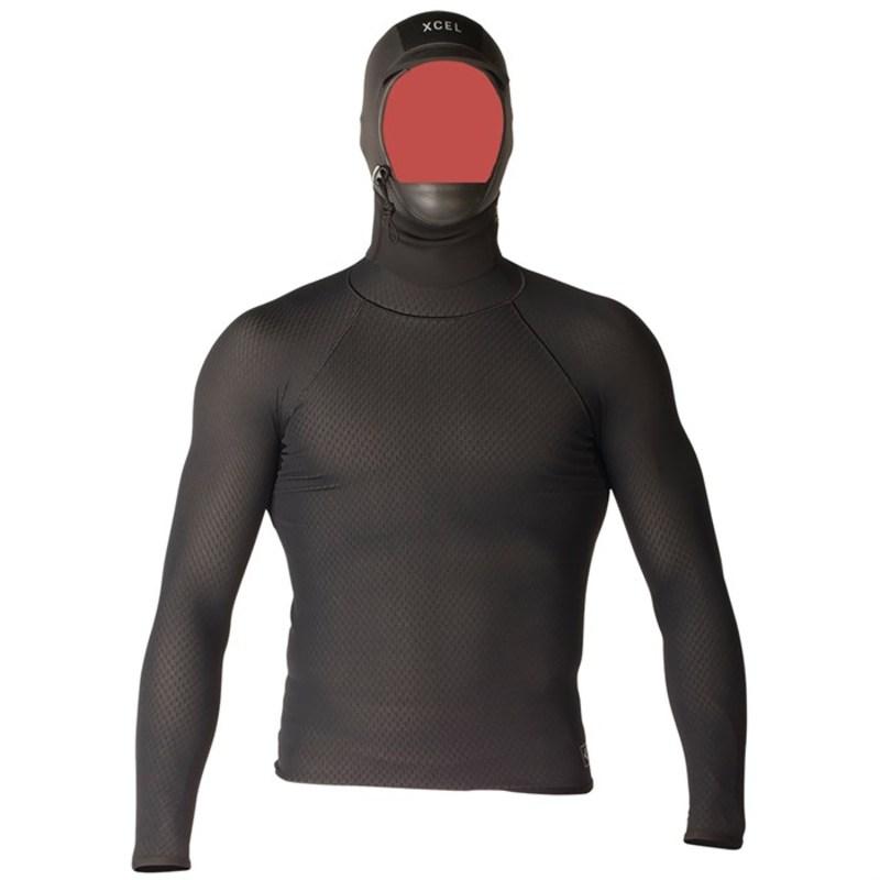 エクセル メンズ 上下セット 水着 Celliant Jacquard Shirt with 2mm G&B Hood Black