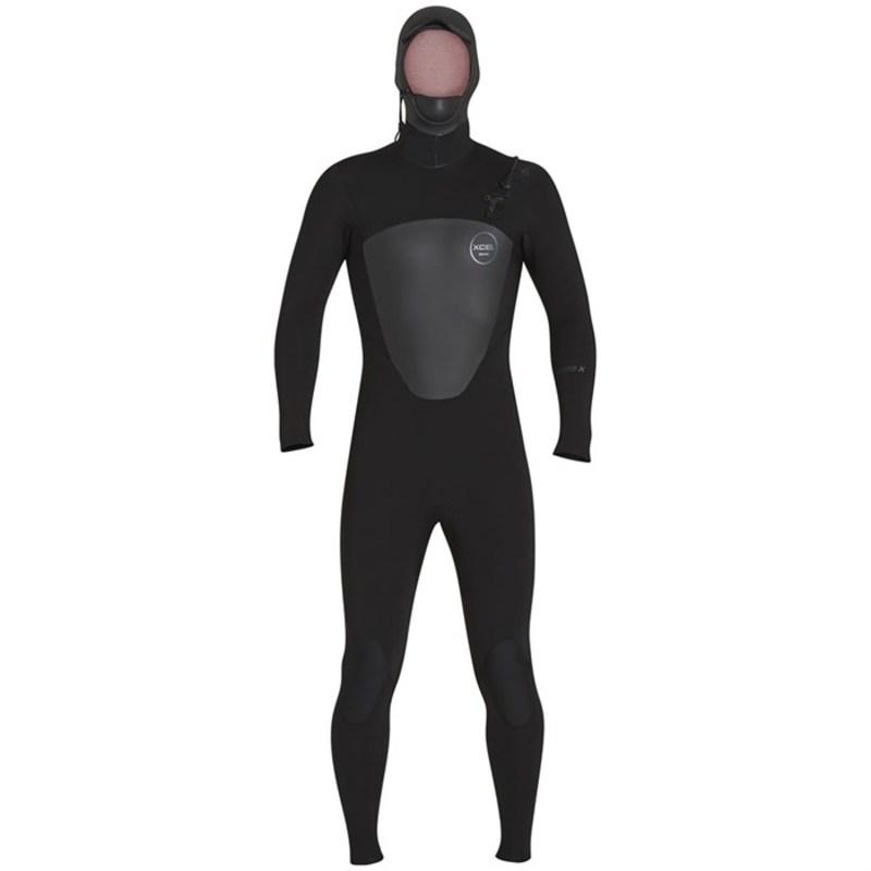 エクセル メンズ 上下セット 水着 5/4 Axis Front Zip Hooded Wetsuit Black