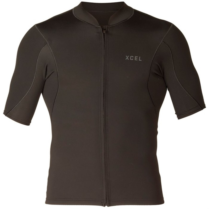 エクセル メンズ 上下セット 水着 Axis 1/0.5mm Short Sleeve Front Zip Jacket Black