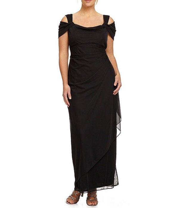 アレックスイブニングス レディース ワンピース トップス Plus Exposed-Shoulder Gown Black