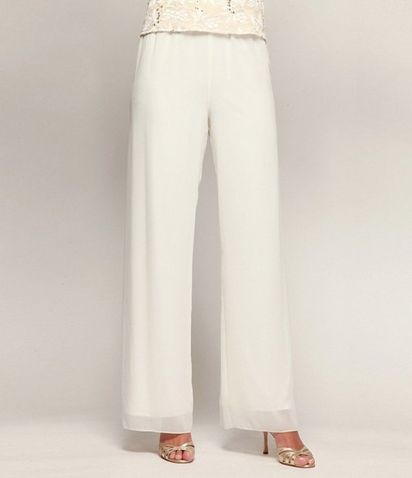 アレックスイブニングス レディース カジュアルパンツ ボトムス Chiffon Wide-Leg Pants Ivory