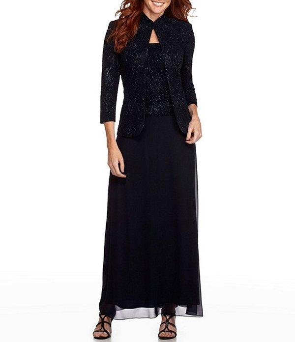 アレックスイブニングス レディース ワンピース トップス 2-Piece Glitter Embellished Jacquard Jacket Dress Navy