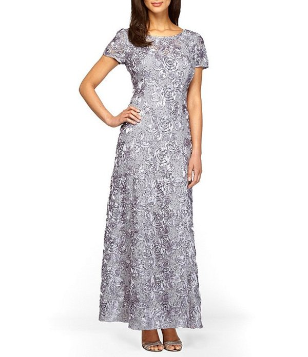 アレックスイブニングス レディース ワンピース トップス Sequined-Lace Rosette-Rose Gown Dove