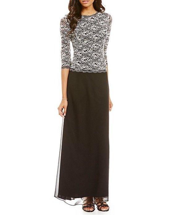 アレックスイブニングス レディース ワンピース トップス Sequined Lace Gown Black/White