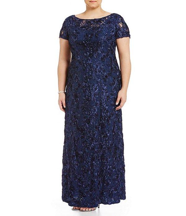 アレックスイブニングス レディース ワンピース トップス Plus Size Floral Rosette Short Sleeve A-Line Gown Navy