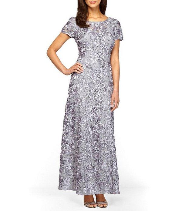 アレックスイブニングス レディース ワンピース トップス Petite Sequined-Lace Rosette-Rose Gown Dove