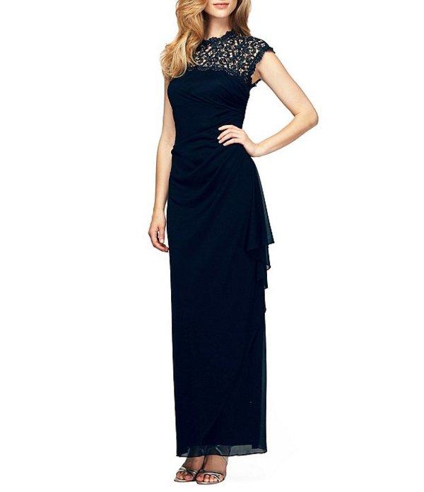 アレックスイブニングス レディース ワンピース トップス Petite Cap Sleeve Open-Back Lace-Yoke Dress Navy