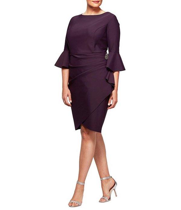 アレックスイブニングス レディース ワンピース トップス Plus Bell Sleeve Sheath Dress Aubergine