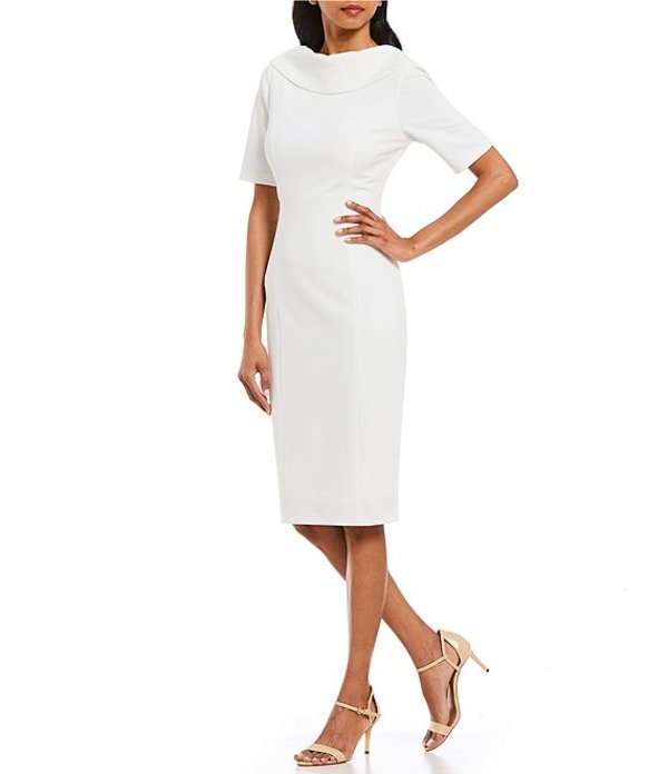 アドリアナ パペル レディース ワンピース トップス V-Back Portrait Collar Midi Length Sheath Dress Ivory