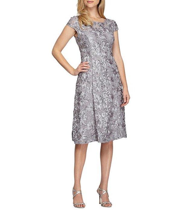 アレックスイブニングス レディース ワンピース トップス Petite A-Line Rosette Midi Dress Dove