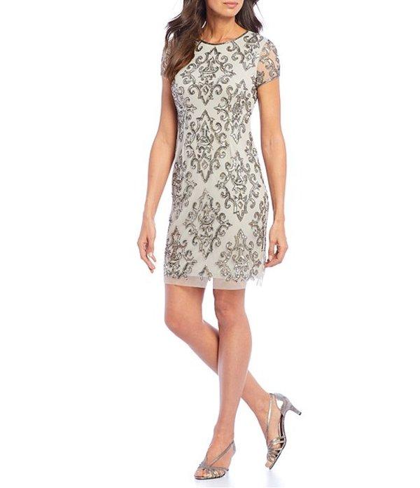 アドリアナ パペル レディース ワンピース トップス Beaded Illusion Sheath Dress Silver