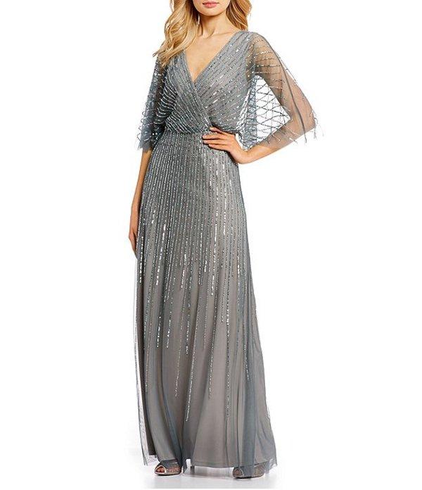 アドリアナ パペル レディース ワンピース トップス Adrianna V-Neck Beaded Blouson Illusion 3/4 Sleeves Gown Pewter Silver
