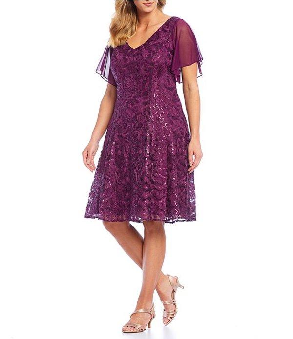 アレックスイブニングス レディース ワンピース トップス Plus Size A-Line Sequin Lace Embroidered Midi Dress Bright Plum