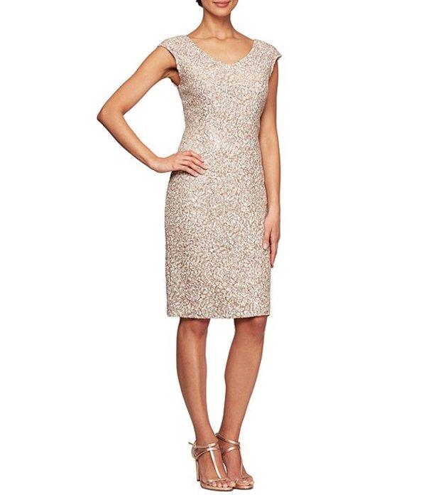 アレックスイブニングス レディース ワンピース トップス Corded Lace Cap Sleeve V-Neck Sheath Dress Champagne/ivory