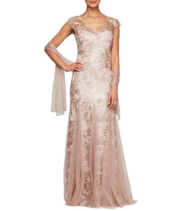アレックスイブニングス レディース ワンピース トップス Cap Sleeve Embroidered Lace Godet Gown Rose Gold