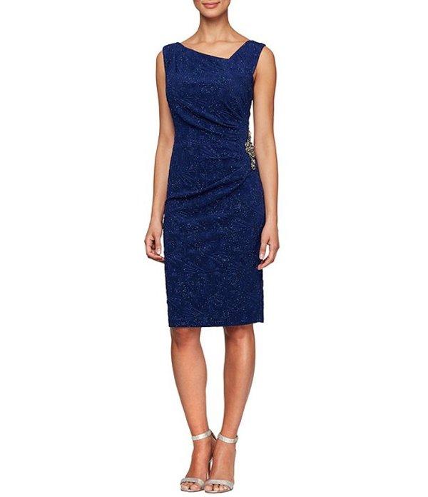 アレックスイブニングス レディース ワンピース トップス Jacquard Glitter Knit Asymmetric Neck Sleeveless Sheath Dress Electric Blue