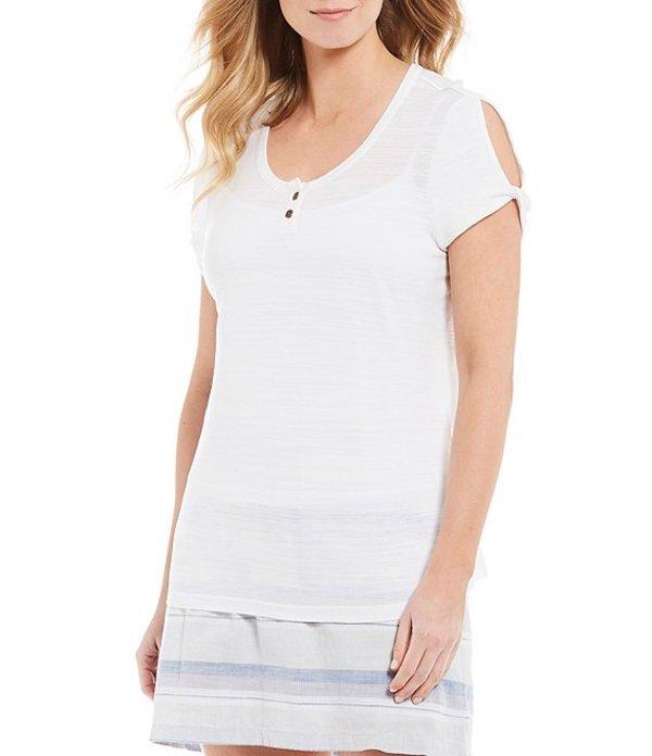 アベンチュラ レディース Tシャツ トップス Paloma Jersey Cutout Scoop Neck Short Sleeve Top White