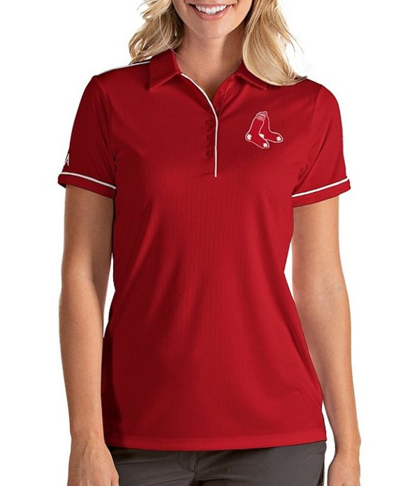 アンティグア レディース Tシャツ トップス Women's MLB Salute Short-Sleeve Polo Shirt Boston Red Sox Dark Red