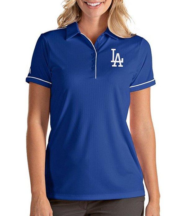 アンティグア レディース Tシャツ トップス Women's MLB Salute Short-Sleeve Polo Shirt Los Angeles Dodgers Steel